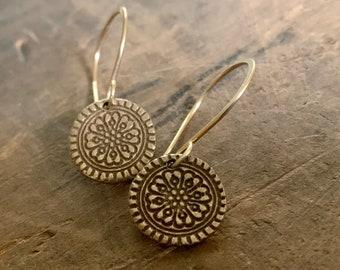 Bronze Mandala Earrings - Handmade. Bronze and 14kt Goldfill.