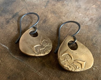 Indah Earrings - Handmade. Bronze and Oxidized sterling silver dangle earrings