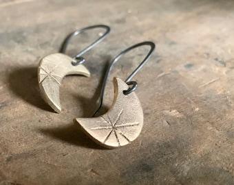 Bronze Luna Earrings - Handmade. Bronze and sterling silver dangle earrings