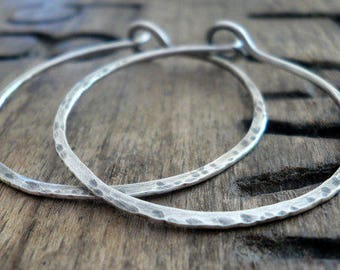 Mangly Hoops - Choice of 6 sizes. Handmade. Hammered. Oxidized LIGHT WEIGHT Sterling Silver Hoop Earrings