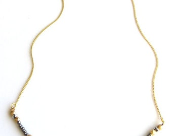 Birdhouse Jewelry - Tiny Beads Necklace in Matte Silver and Gold