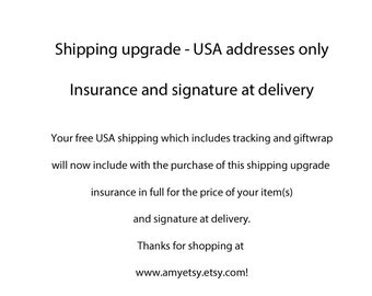 USA Shipping Upgrade: Insurance and Sigature at Delivery