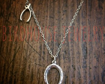 Birdhouse Jewelry - Silver Double Luck Necklace Horseshoe Wishbone