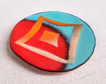 Small Objects Handmade Enamelware Dish Enamel Mod Geometric Trinket Dish Catch-All Dish Jewelry Kiln-fired Glass Enamel Dish for Rings