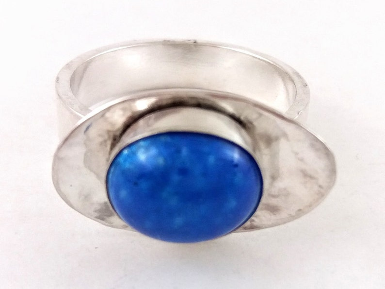 One of a Kind Cabochon Ring US Womens Size 8 Glass Kiln Fused onto Fine Silver with Silver Sterling Band Lapis Blue Enamel Ring