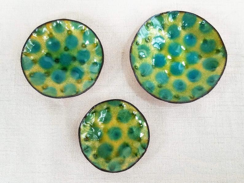 Kiln-fired Glass Enamel Dish for Rings Enamelware Catch-All Dish Enamel /& Copper Dish w Dimple Dot Design Jewelry Small Objects