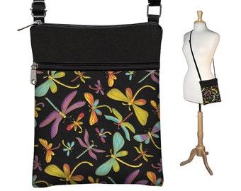 e73e33b62a73 Small Cross Body Purse Black Crossbody Bag Sling Shoulder Bag Fits eReaders  Dragonfly Colorful purple blue green MTO
