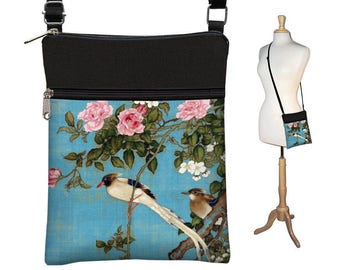 bcce8b9a4 Small Crossbody Bag, Cross Body Purse, Shoulder Bags for Women, Fabric  Handbags, Passport Wallet, Japanese Art bag Asian Bird blue pink MTO