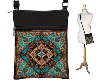 Crossbody Bag, Bohemian Bag, Cross Body Purse, Boho Fabric Handbags, Small Shoulder Bag w/ zippers Kaleidoscope Mandala blue orange red MTO