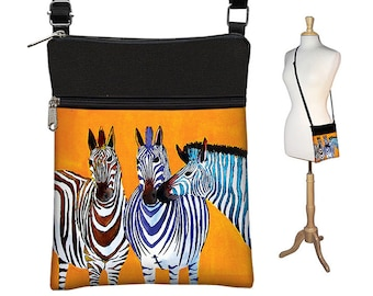Clara Nilles Sling Bag Shoulder Purse Crossbody Bag Small Travel Purse Zipper  Cute Zebra Purse  zebra stripes orange RTS