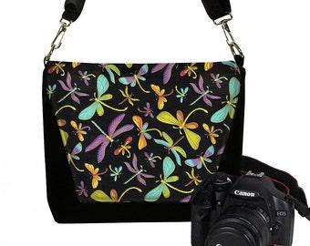 Digital Slr Camera Bag Purse for Women Nikon Canon DSLR Camera Case Pretty Dragonfly black purple blue yellow pink MTO