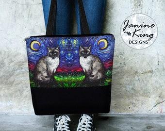 SG Siamese Cat Large Tote Bag w/ Pockets, Cat Lover Gift, Canvas Tote Bag w/ Zipper, Bohemian Diaper Bag Blue, Starry Night Art Bag MTO