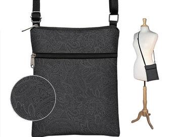 Subtle Paisley Fabric Handbag fits iPad Mini,  Black Crossbody Bag, Cross Body Purse,  Travel Bag,  Small Shoulder Bag, zipper pocket MTO
