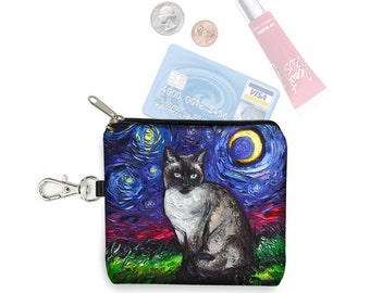 SG Siamese Cat Small Zipper Pouch, Coin Purse Keychain, Cat Lover Gift,  Key Fob, Starry Night Fabric Card Holder, Celestial Blue Moon MTO