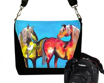 Clara Nilles Digital SLR Camera Bag for Women Camera Bag Purse Horses Zipper Padded Deluxe Painted Ponies cute turquoise RTS