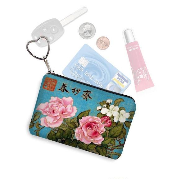 Tissu floral japonais carte de crédit porte porte-clé changement bourse carte de visite affaire petite tirette de pièce de monnaie bourse porte-clé oiseau bleu roses roses RTS