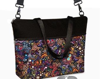 17 inch Laptop Bag w/ cross body strap /  Laptop Tote Bag / Women's Briefcase / Pockets,  Zipper black colorful MTO