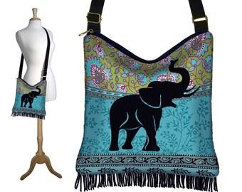 Elephant Hippie Bag Fringe Boho Bag Hobo Purse Handbag  Bohemian Cross Body Shoulder Bag Paisley blue green black MTO
