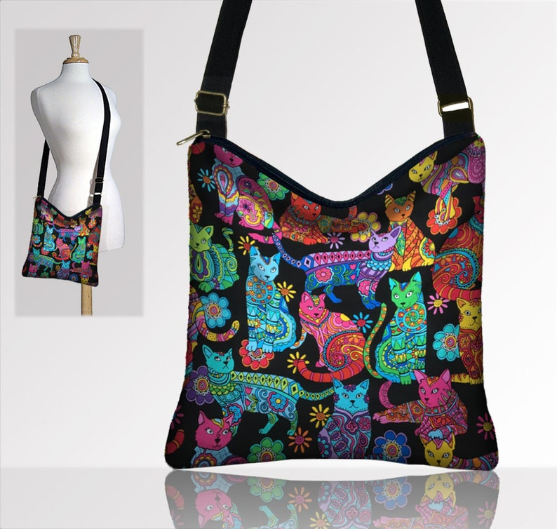b8db85c90f Cat Purse Crossbody Bags Boho Bag Fabric Handbags Hippie Bag