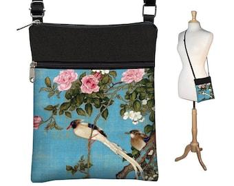 Small Crossbody Bag, Cross Body Purse, Shoulder Bags for Women, Fabric Handbags, Passport Wallet, Japanese Art bag Asian Bird blue pink MTO