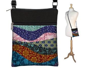Small Crossbody Bags for Women, Asian Patchwork Fabric Handbags, Boho Bag, Cross Body Purse, Colorful Shoulder Bag blue red pink black MTO