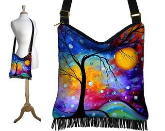 MadArt  Hippie Bag Fringe Boho Bag Hobo Purse Handbag Cross Body Shoulder Bag  Winter Sparkle  tree moon zipper blue purple red MTO