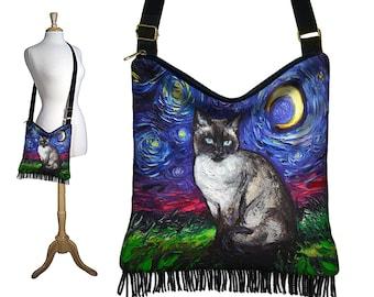 SG Siamese Cat Fringe Purse, Starry Night Hippie Bag, Boho Hobo Bag, Moon Crossbody Purse, Blue Shoulder Bag, Cat Fabric, Cat Lover Gift MTO