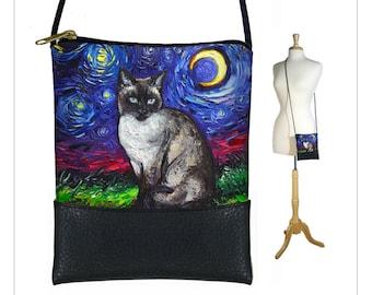 SG Siamese Cat Small Crossbody Bag, Starry Night Cell phone purse,  Mini shoulder bag, Cat Lover Gift, Crescent Moon Art Bag, blue black MTO