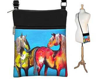 Clara Nilles Sling Bag Shoulder Purse Crossbody Bag Small Travel Purse Zipper - Horses Painted Ponies turquoise red MTO