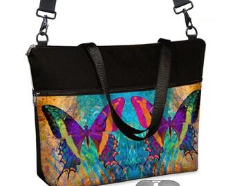 "17 inch Laptop Tote Bag Womens Briefcase w/ Straps Messenger Laptop Bag 15.6""  Boho Bohemian Butterfly turquoise  orange pockets zipper  RTS"