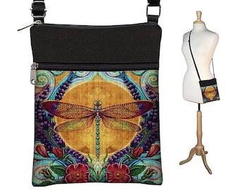 Small Crossbody Bags for Women, Bohemian Dragonfly Fabric Handbags, Boho Bag, Cross Body Purse, Colorful Shoulder Bag blue purple gold MTO