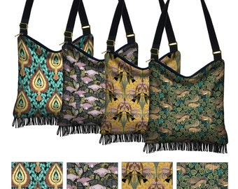 Art Nouveau Animals Hobo Bag w/ Zipper, Floral Hippie Crossbody Bag, Bohemian Fringe Purse, Bats Eagle Squirrels Hummingbirds, Verneuil, MTO