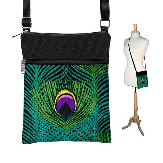 b9203f5c70fc Small Cross Body Bag Peacock Crossbody Bag Shoulder Bag Cross Body Purse  Travel Purse Zipper teal purple Peacock feather RTS