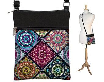 Crossbody Bag, Bohemian Bag, Cross Body Purse, Boho Fabric Handbags, Small Shoulder Bag w/ zippers colorful mandala  blue purple orange MTO