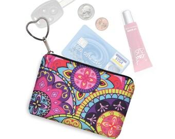 Small Zipper Coin Purse, Credit Card Holder, Key Fob Business Card Holder, Credit Card Case, Keychain Change Purse, pink purple paisley  RTS