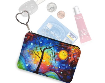 MadArt Small Zipper Pouch Coin Purse Keychain Business Card Holder Key Fob  Winter Sparkle fabric pouch  blue purple yellow red RTS