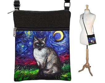 SG Siamese Cat Small Crossbody Bags Women, Starry Night Fabric Handbags, Bohemian Cross Body Purse, Blue Shoulder Bag, Cat Lover Gift MTO