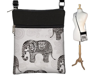 Special Price!  Sling Bag Shoulder Purse Elephant Cross Body Bag Small Travel Purse Zipper Fits eReaders Paisley Gray Black MTO
