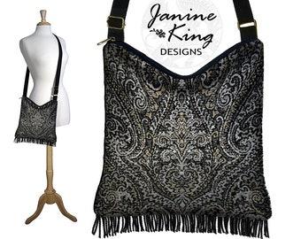 Boho Hobo Bag Fringe Purse Hippie Bag Bohemian Shoulder Bag Purse Medium Crossbody Bag Black Gray Tan Damask Chenille Tapestry Bag MTO