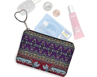 Colorful Boho Business Card Case Key Chain Key Fob Small Zipper Pouch Coin Purse Digital Turkish Tapestry, Kilim Fabric, red blue purple RTS