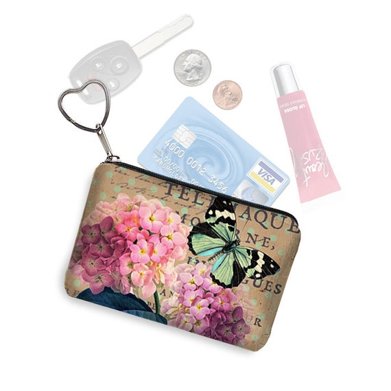 Small Zipper Pouch Coin Purse Keychain Key Fob Business Card Holder Purse Organizer Mucha Zodiac  Art Nouveau Woman blue orange fabric MTO