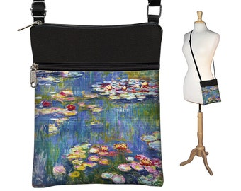 Water Lilies Claude Monet Print Crossbody Bag, Bohemian Purse, Blue Fabric Bags, Cross Body Purse, Small Shoulder Bag, zipper pocket MTO