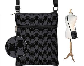 Black Cat Fabric Handbag, Small Cross Body Purse,   Black Crossbody Bag,  Shoulder Bag, Travel Purse, zipper pocket,  cat lover gift MTO
