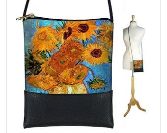 Small Cross Body Purse in Van Gogh Sunflowers, Mini Crossbody Bag, Shoulder Bag w/ long strap,  art bag, blue orange black  MTO