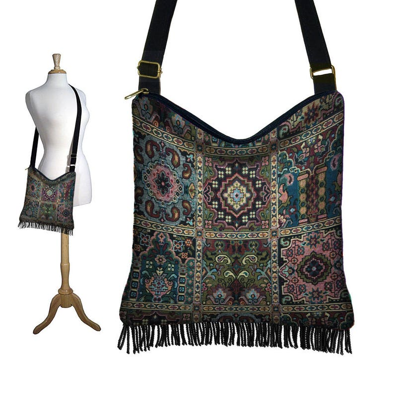 Red Feather Bohemian Sling Bag Crossbody Shoulder Purse Hippie Hobo Gypsy