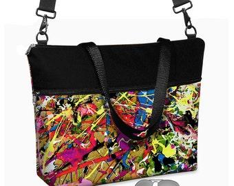 "17 inch Laptop Tote Bag Womens Briefcase Crossbody Laptop Bag 15.6""  Messenger Laptop Case Paint Splatter Jackson Pollock  red purple RTS"
