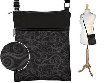 Small Cross Body Purse Black Crossbody Bag Sling Shoulder Bag Swirl Fabric Handbag Fits eReaders charcoal gray black swirly MTO