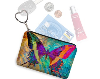 Small Zipper Pouch Coin Purse Keychain Key Fob Boho Butterfly Business Card Holder Purse Organizer Colorful purple blue fabric MTO