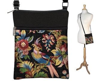 Vintage Bird Print Art Bag, Black Crossbody Bag, Bohemian Bag, Cross Body Purse, Boho Fabric Handbags, Small Shoulder Bag, zipper pocket MTO
