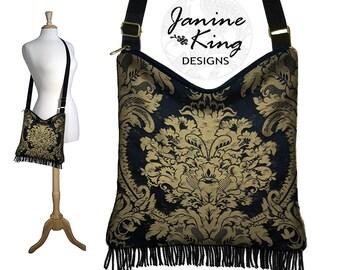 Damask Tapestry Bag, Gypsy Boho Fringe Purse, Black Hippie Bag, Tapestry Purse, Hobo Bag Cross Body, Fabric Purses, long strap zipper MTO